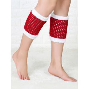 Hollow Out Crochet Christmas Fluffy Boot Cuffs