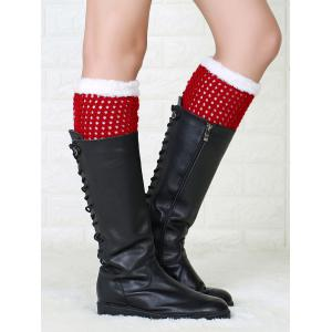 Hollow Out Crochet Christmas Fluffy Boot Cuffs - RED
