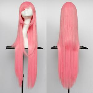 Overlength Oblique Bang Glossy Straight Synthetic Cosplay Anime Wig - Shallow Pink