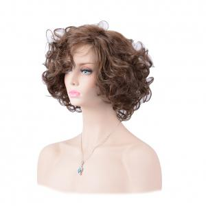 Short Shaggy Oblique Parting Layered Curly Human Hair Wig -