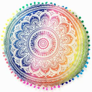 Sofa Mandala Flower Print Pompon Round Throw Covers