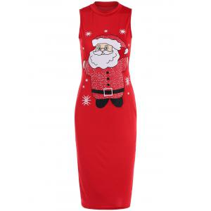 Sleeveless Santa Clause Print Midi Tank Dress - Red - M