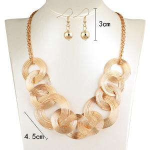 Hollowed Circle Metallic Jewelry Set -