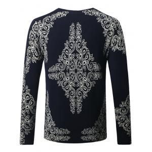 Thicken Dragon and Floral Pattern Sweater - CADETBLUE 4XL