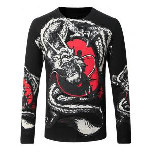 Thicken Eight Diagrams Dragon Pattern Sweater - Black - Xl
