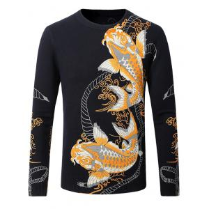 3D Kois Pattern Crew Neck Sweater
