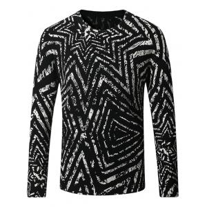 Thicken 3D Geometric Long Sleeve Sweater - Black - Xl