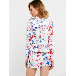 Floral Print Business Suit with Flowery Shorts - WHITE XL