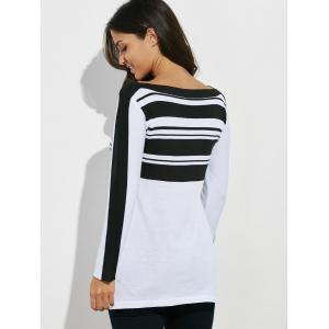 Striped Asymmetric Pocket Tunic T-Shirt -