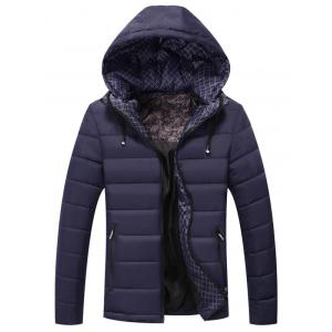 Zip Pocket Drawstring Hooded Padded Jacket