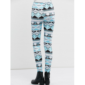 High Waist Stretchy Geometric Print Leggings - CLOUDY XL