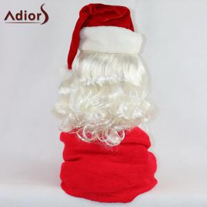Adiors Party Christmas Santa Claus Cosplay Synthetic Beard and Wig Set -