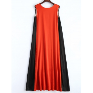 V Neck Color Block Trapeze Maxi Dress -