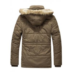 Flap Pocket Zip Quilted Jacket with Fur Trim Hood -