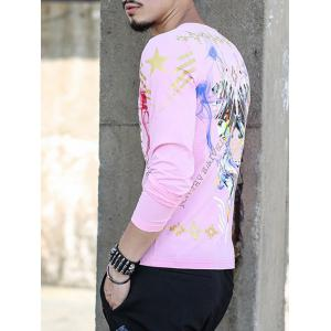 Round Neck Long Sleeve All Over Printed Tee - PINK 4XL