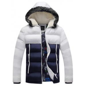 Flocking Hooded Zip Up Color Block Down Jacket - White - M