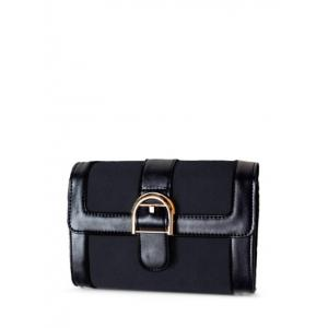 PU Leather Belt Buckle Crossbody Bag - Black - 38