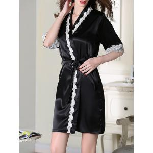 Lace Trim Belted Satin Short Robe - Black - Xl