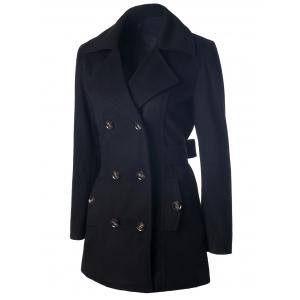 Self Tie Double Breasted Pea Coat -