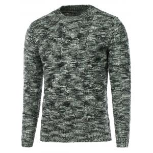Weave Pattern Knitted Crew Neck Sweater