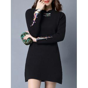 Frog Buttons Side Slit Insert Dress - Black - One Size