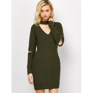 Choker Neck Mini Fitted Sweater Dress