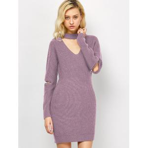 Choker Neck Mini Fitted Sweater Dress - Pink - M