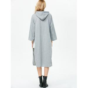 High Slit Shift Midi Hoodie Dress -