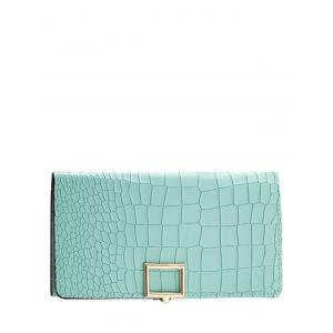 Stone Pattern Tri Fold Long Wallet - Tiffany Blue