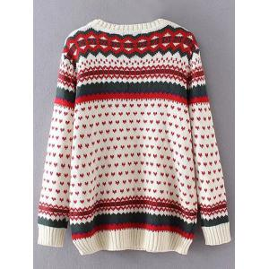 Heart Print Plus Size Sweater - OFF-WHITE 3XL