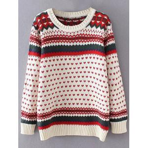 Heart Print Plus Size Sweater