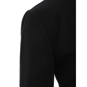 Asymmetric Button Up Blazer - BLACK 2XL