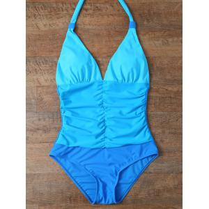 Ombre Halter Shaping One Piece Swimwear - LAKE BLUE L