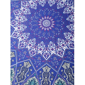 Tribal Totem Print Rectangle Beach Throw - PURPLE ONE SIZE