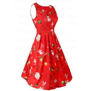 Belted Christmas Print Skater Party Dress - RED XL