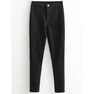 Skinny High Waist Tapered Jeans - Black - L