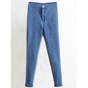 Skinny High Waist Tapered Jeans - Denim Blue - Xs