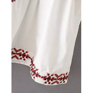 Embroidered Flare Sleeve A-Line Dress -