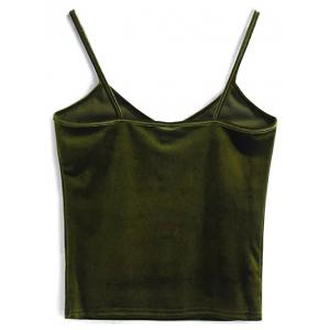 Cami Cropped Velvet Tank Top - OLIVE GREEN ONE SIZE