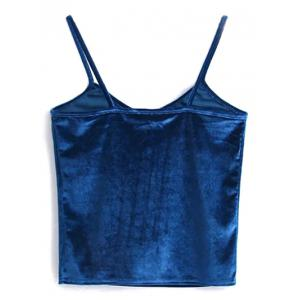 Cami Cropped Velvet Tank Top - PEACOCK BLUE ONE SIZE