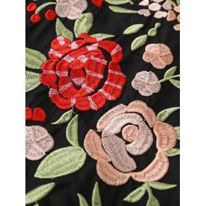 Floral Long Sleeve Embroidered Polo Shirt Dress - BLACK L