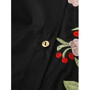 Floral Long Sleeve Embroidered Polo Shirt Dress -