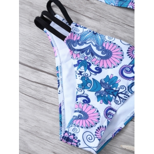 Printed Bandeau Bikini Top and Bottoms - WHITE L
