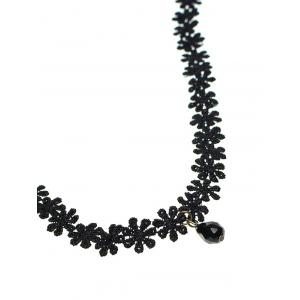 Faux Gem Lace Daisy Necklace -