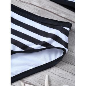 High Neck Striped Bikini Set -