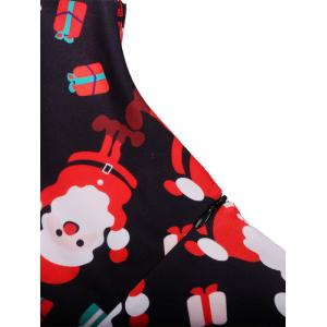 Santa Print Sleeveless Flare Dress - BLACK XL
