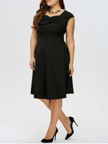New Plus Size Vintage Ruched Swing Dress
