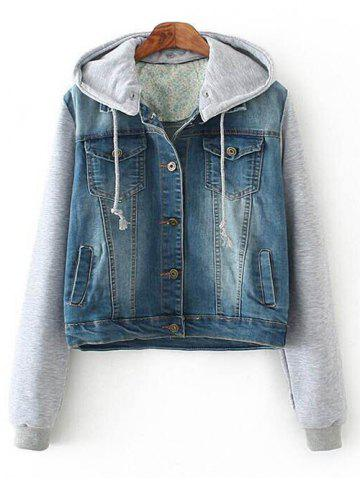 Store Hooded Denim Spliced Pockets Jacket