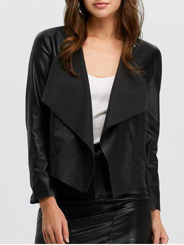 Affordable Faux Leather Open Front Jacket BLACK M