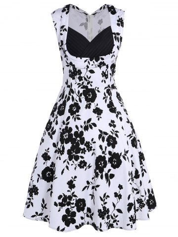 Sleeveless Shirred Floral Print Swing Dress Vintage Prom Dresses - White - M